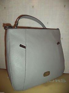 Michael Kors Hallie Large Leather Convertible Shoulder Bag Crossbody Pearl Grey