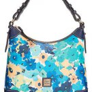 Dooney & Bourke Floral Print Large Somerset Hobo Shoulder Bag Aqua Navy Blue