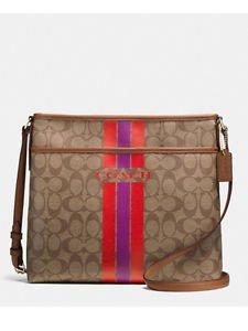 Coach Signature Stripe File Shoulder Bag Crossbody Khaki Brown Watermelon Purple
