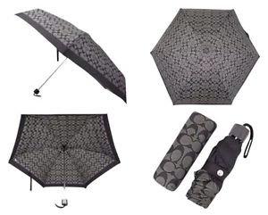 Coach Signature Print Nylon Mini Retractable Umbrella Black Grey Gray