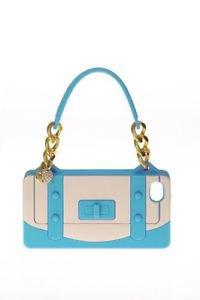 NIB Rolf  Handbag Shape Cell Phone Case for Iphone 4S & 4G Aqua Blue Teal Gold