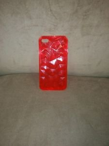 Greene + Gray iPhone 4 4s Diamond Cut Cell Phone Case Red Silicone Gel Jelly