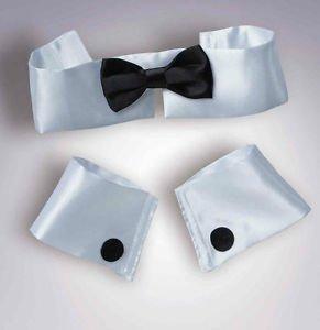 STRIPPER SET BLACK BOWTIE CUFFS COLLAR Clown Bow Tie Male Dancer Costume Tuxedo