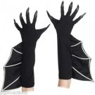 LONG WITCH GLOVES NAILS Bat Man Wings Black Costume Halloween Monster Web Adult