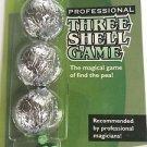 PRO THREE SHELL GAME 3 Set Magic Trick Bar Bet RUBBER PEAS Silver Nut Kit Gamble