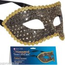 SEQUIN HALF MASK VENETIAN Mardi Gras Masquerade Black Gold Glitter Costume Adult