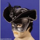 Silver Black PIRATE HALF MASK + HAT Venetian Costume Cap Mardi Gra Party Feather