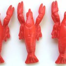 """3 FAKE 5"""" RED PLASTIC LOBSTER SET Funny Fish Joke Prop Toy Seafood Luau Party Sm"""