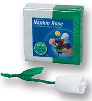 NAPKIN TO ROSE REFILLS White Green Flower Magic Trick 50 Pack Set Refill Clown