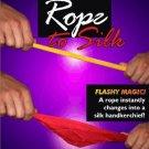 "Deluxe YELLOW ROPE TO 18"" RED SILK SCARF Stiff Magic Trick Hanky Rigid Beginner"
