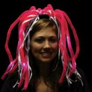 PINK LED DIVA DREADS HEADBAND Light Up Wig Hair Coil Halloween Costume Battery