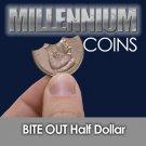 BITE OUT FOLDING US HALF DOLLAR .50 Coin Magic Trick Close Up Joke Eat Gag Gift
