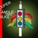 SUPER CANDLE THROUGH SILKS Stage Magic Trick Magician Thru 3 Silk Tube Box Prop