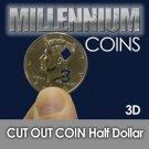 CUT OUT US HALF DOLLAR 3 OF DIAMONDS 3D Card Coin Magic Trick .50 Close Up Three