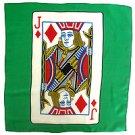 "18"" JACK OF DIAMONDS CARD SILK Magic Trick Playing Green Scarf Magician 10 Ideas"