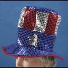 USA TOP HAT Sequins Uncle Sam Costume Cap Clown Adult