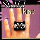 STUDDED PIN PUNK RING Metal Spikes Goth Costume Jewelry Finger 3 Studs Heavy Toy