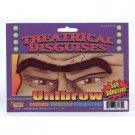 FUNNY UNIBROW EYEBROW Joke Costume Black Fake Hair Mustache Hairy Nerd Monster