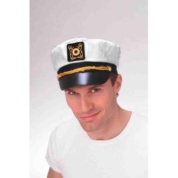 WHITE YACHTSMAN CAPTAIN NAVY SAILOR HAT Skipper Officer Uniform Adult Cap Ship