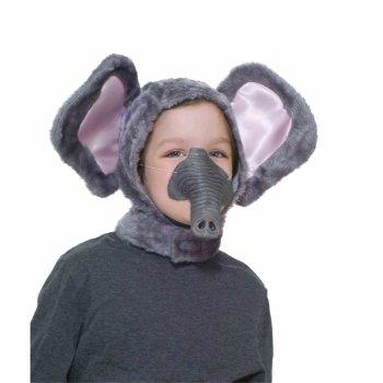 CHILD ELEPHANT ANIMAL GREY HOOD & RUBBER NOSE Ears Hat Costume Plush Mask Set