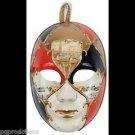 Deluxe ORANGE MIME JESTER VENETIAN MASK Clown Joker Mardi Gras Masquerade Ball