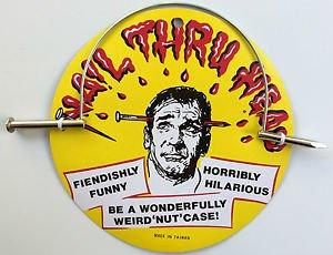 Funny METAL GIANT NAIL THRU HEAD GAG Spike Joke Prank Magic Trick Arrow Through