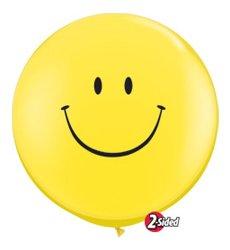 "JUMBO YELLOW SMILEY FACE 3' FOOT ROUND SMILE BALLOON Latex Giant Ft 36"" Happy"