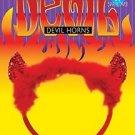 RED SEQUINS DEVIL HORNS ON FURRY HEADBAND Halloween Satan Ears Adult Funny Gag