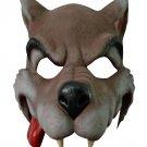 CARTOON WOLF RUBBER HALF FACE MASK Halloween Dog Werewolf Scary Fang Big Bad