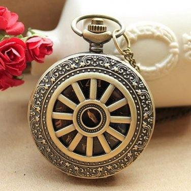 New Mini Vintage Style Steampunk Quartz Pocket Watch with Chain