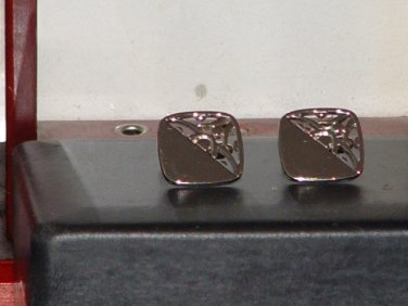 Mens Pre-Owned Silver Tone Fancy Square Design Cufflinks