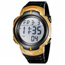 New Men's Black & Gold Waterproof Multi Function Digital Watch