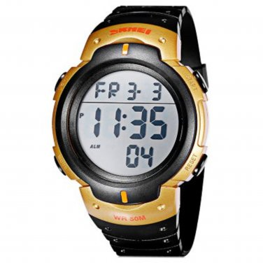 New Men�s Black & Gold Waterproof Multi Function Digital Watch
