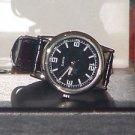 New Casual Unisex Black & Silver PU Leather Band Quartz Watch