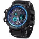 New Men's Blue Multi Function Dual Time Digital Analog Quartz Watch