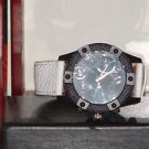 New Men's Black & White Leather Band Analog Sports Watch