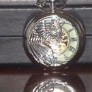 New Silver Phoenix Luminous Hand Mechanical Pocket Watch