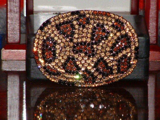 Pre-Owned Snake Pattern Rhinestone Gold & Brown Color Belt Buckle