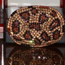 Pre-Owned Snake Pattern Rhinestone Gold & Brown Color Belt Buckle