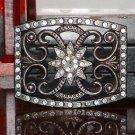 Pre-Owned Flower Pattern Rhinestone Gray Color Belt Buckle