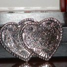 Pre-Owned Silver Tone Double Heart and Roses Belt Buckle