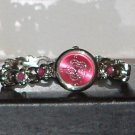 Pre-Owned Women's Fashion Pink Flower Pattern Band Analog Quartz Watch