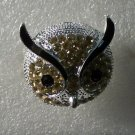 Topaz Crystals with Black Enamel in Silver Plate Owl Ring
