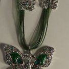 Green Enamel Green Crystal Butterfly Necklace Earrings Set with Silver Flowers