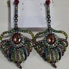 Japanned Pink Blue Aurora Borealis Crystal Peacock Feather Earrings
