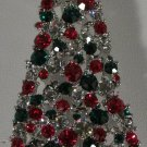 Silver Large Green Red Crystal Christmas Tree Pin Star