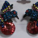 Japanned Black Enameled Pink Blue Yellow Crystal Hummingbird Pierced Earrings