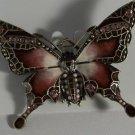 Stunning Red Pink Enamel & Crystal Butterfly Pin Brooch