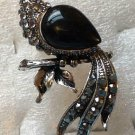 Silver Plate Black with Hematite Crystal Peacock Ring Size 6 1/2