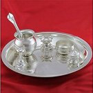 Puja Thali containing Set Of 7 items in Artficial German Silver from India